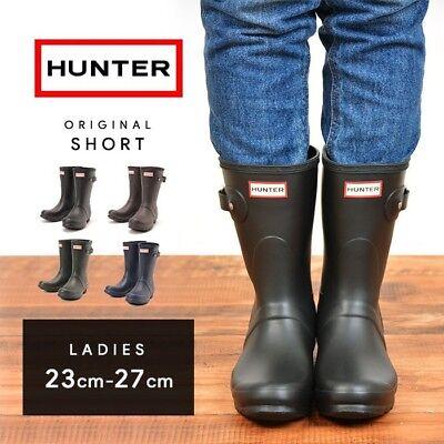 HUNTER Womens sz 9, Black Rubber Waterproof Rain Short boots WFS1000RMA, SALE