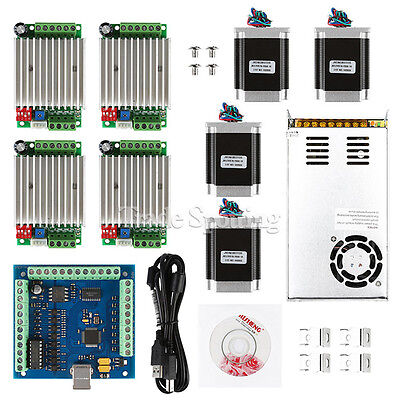 Cnc 4-axis Kit 4 With Tb6600 Driver Mach3 Usb Breakout Board Nema23 Motors