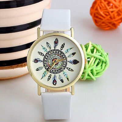 FASHION WOMAN PEACOCK FEATHER LEATHER ANALOG STAINLESS STEEL QUARTZ WRIST WATCH