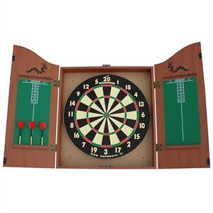 NEW WOODWORM DART BOARD SET WITH CABINET Inc 6 DARTS