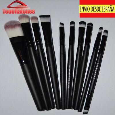 set 10 brochas pinceles de maquillaje profesional alta calidad para regalar negr