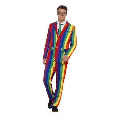 Regenbogen Anzug mit Hose, Krawatte und Jackett für Karneval, JGA, CSD & Co