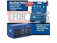 """Draper 87953 Tool box + Draper Expert 1/2"""" Metric 41pc Socket Set"""