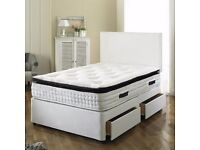 BRAND NEW- DOUBLE Bed with Luxury Ortho Mattress--in white black and cream-available single kingsize