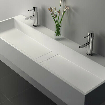 "47"" Double Sink White Stone Resin Trough Bathroom Sink&Two Faucet Hole&Drain"