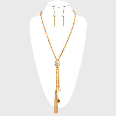 Gold Plated Rope Chain Crystal Stone Faux Pearl Tassel Necklace Earrings Set - Fake Gold Rope Chain