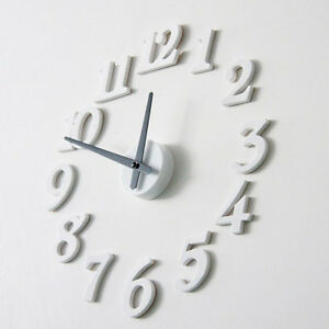 Latest DIY Self Adhesive Decal Wall Digit Number Room Interior Clock White