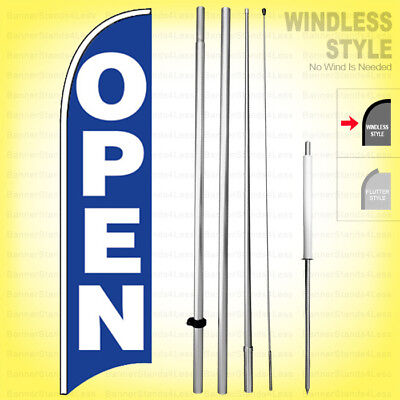 Open - Windless Swooper Flag Kit 15 Feather Banner Sign Bb-h