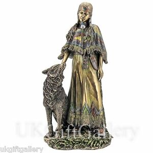 Native American Indian SQUAW WITH WOLF Statue Veronese Studio Bronze Sculpture