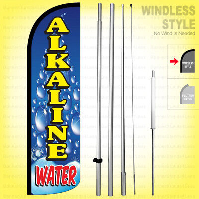 Alkaline Water - Windless Swooper Flag Kit 15 Feather Banner Sign Bq-h