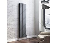 1600x376mm Anthracite Double Flat Panel Vertical Radiator