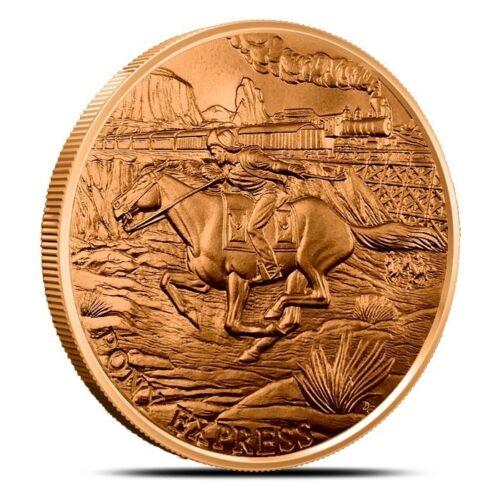 Prospector Series - Pony Express 1 oz .999 Copper USA Made 49er BU Bullion Round