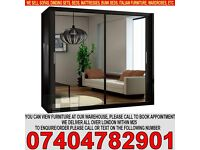 BRAND NEW 2 Door Sliding Mirrored Wardrob with Full Glass in Black, Brown Oak White Walnut