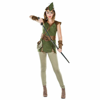 Robin Hood Kostüm für Damen inkl. Oberteil, Armstulpen, Hut und Tasche