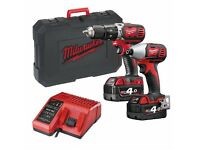 Milwaukee Combo kit 4 Ah includes Cordless Drill and Impact Driver Kit, 2 batteries, Charger