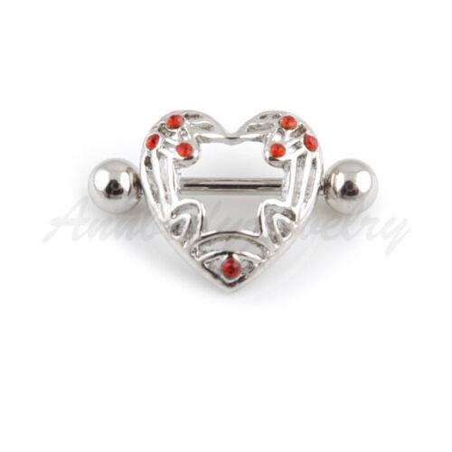 2x Nipple Rings Shield Bar Barbell 316l Steel Piercing Heart Style