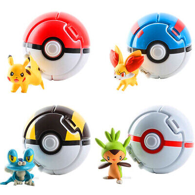 4pcs / Lot Pokemon Pokeball Toys Pikachu Battle Ball Kids Balls 7cm