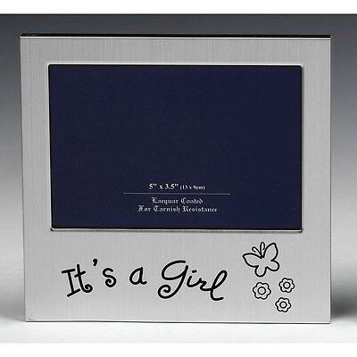 'It's a Girl' Satin silver photo frame-shudehill Giftware ()