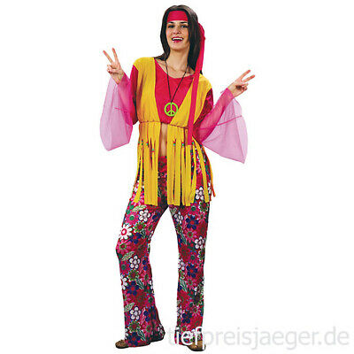 70er JAHRE HIPPIEKOSTÜM Karneval Hippie Damen Kostüm Flower Power Party M 87176 (70er Jahre Kostüme Party)