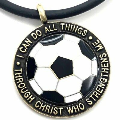 Phil 4:13 Soccer ball Necklace  (SPSBRASS) Made in the USA