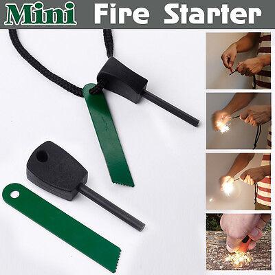 Mini Feuerstein Feuerstahl Magnesium Flint Anzünder Camping Feuer Zündstab Feuer