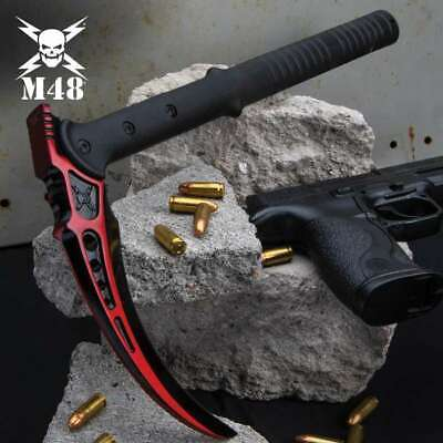 M48 Red Tactical Kama Scythe Blade Tactical Hunting Fixed Blade Knife w Sheath