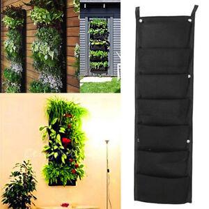 7 pocket indoor outdoor wall balcony herbs vertical garden for Outdoor vertical wall garden