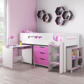 Dynamo Girls Pink Cabin Bed - Ladder Can Be Fitted Either Side!