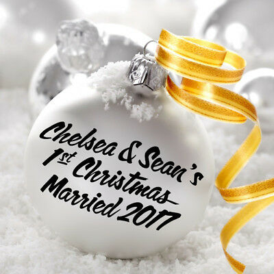 PERSONALISED 1ST CHRISTMAS MESSAGE DECAL STICKER FOR BAUBLE HOME DECOR GIFT DIY