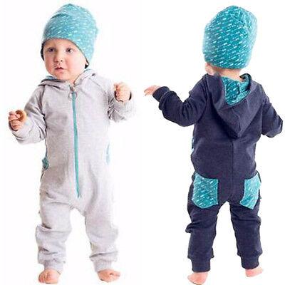 Kleinkind Baby Junge mit Kaputze Strampler Reißverschluss Overall Strampelanzug