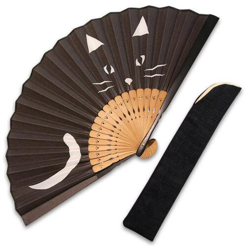 Japanese Sensu Folding Fan Black Cat Design Japan Kyoto Odori Dance Traditional
