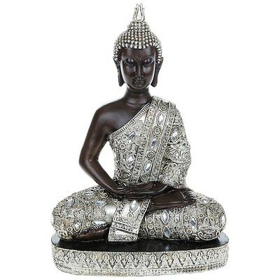 Large Meditating Thai Buddha 31cm Silver Gold Statue Ornament Figurine
