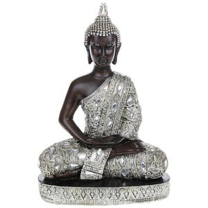 NEW Large Meditating Thai Buddha 34cm Silver Gold Statue Ornament Figurine