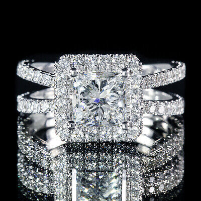 2.12ct GIA Certified Princess Diamond Split Shank Pave Set Engagement Ring E/SI1