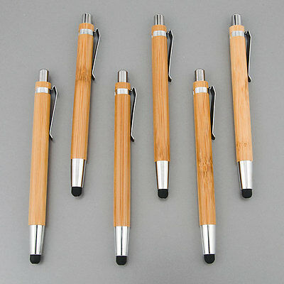 6X   Cell Mobile  Phone Tablet Real Bamboo Stylus Pen  Ball point Pen 6 pieces (Mobile Stylus Pen)