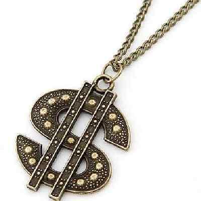 skette lange Kette Geld Money Necklace bronze Bucks (Dollarzeichen Halskette)