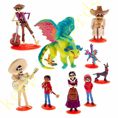 9 Pcs Disney Cartoon Movie Coco Miguel Hector Rivera Pvc Figure Cake Topper Toy