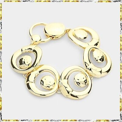 Gold Link Chain Charm Magnetic Clasp Closure Bracelet Statement Circle Hoop DOts