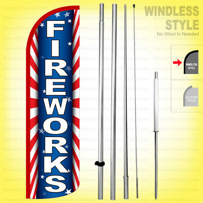 Fireworks - Windless Swooper Flag Kit 15 Feather Banner Sign Starburst Rq-h