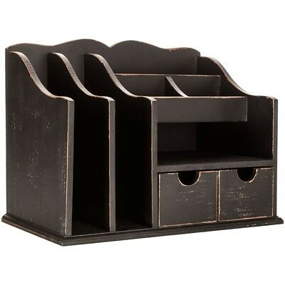 Lg Antique Wood Desk Organizer Office Home Unique Organization Elegant Decor New