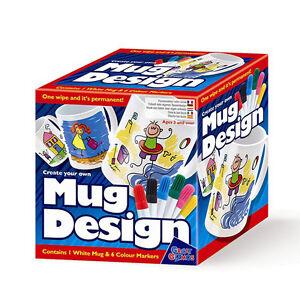 Create Your Own Mug Design Set - Childrens Paint Mug with Marker Pens Craft Kit