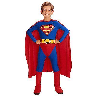 Superman Superhero Man of Steel Boys Kids Cosplay Party Fancy Costume Age 4 - 12 - Kids Super Hero Costume
