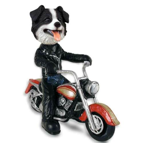 Border Collie on a Motorcycle Stone Resin Figurine Statue