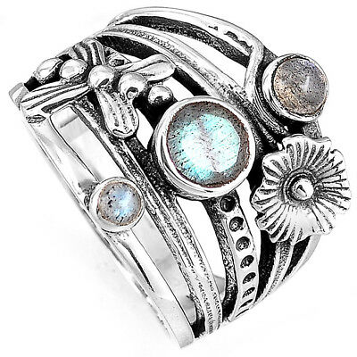 Gemstone Sterling Silver Flower Ring - 925 Sterling Silver Butterfly Flower Ring Labradorite Stone Wide Band Size 8 9