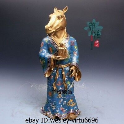 China Bronze Copper Cloisonne Enamel 24K Gold Gild Zodiac Horse Statue Sculpture