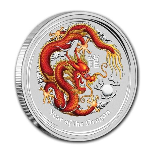 2012 Year of the Dragon Perthmint Color Silver Coin 1/2 oz Beautiful