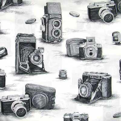 Antique Camera Black & White Gray Retro Photographic Equipment Cotton Fabric Black & White Camera