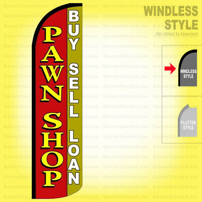 Pawn Shop Buy Sell Loan - Windless Swooper Flag 3x11.5 Ft Tall Banner Sign Rq