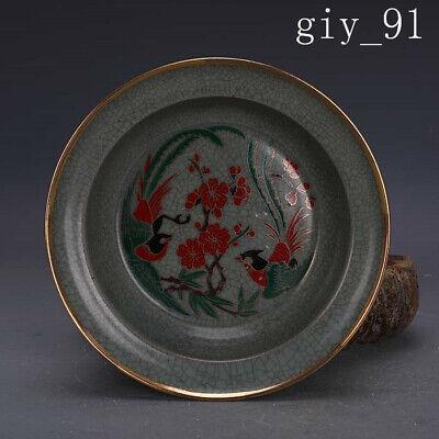 "3.35/""Chinese Antique Pastel Porcelain painting flower bird pattern Brush washer"