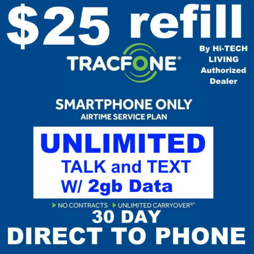 $25 TRACFONE SMARTPHONE PREPAID REFILL 🔥 FAST DIRECT to PHONE 🔥GET IT TODAY🔥